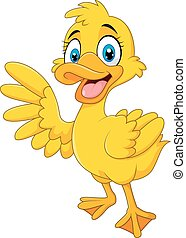 Cartoon funny duck waving hand - Vector illustration of...