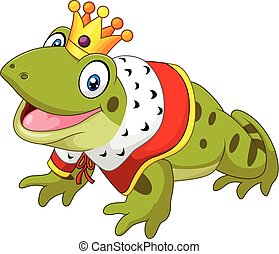 Cartoon funny frog king isolated - Vector illustration of...