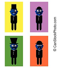 Hipster blue men set - Vector set of hipster blue men on...