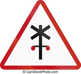 Road sign in the Philippines - Railway Crossing Advance...