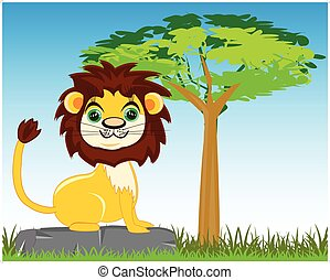 Animal lion in savannah - Vector illustration animal lion on...