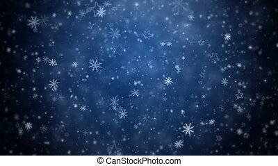 Falling snowflakes and stars - Winter Christmas background,...