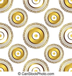 Seamless pattern with gold circles