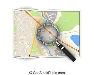 city map - 3d illustration of city map and magnifying glass,...