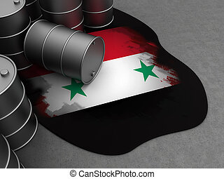 Syria and oil - abstract 3d illustration of oil waste with...