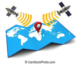 sattelite navigation - 3d illustration of sattelite...