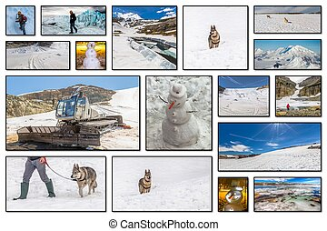 Winter sports collage - Collage pictures of glaciers,...