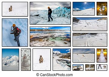 Winter vacation collage - Collage pictures of glaciers,...