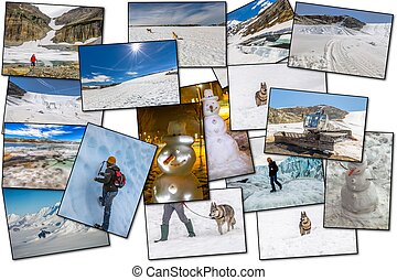 Winter pictures collage - Collage pictures of glaciers,...