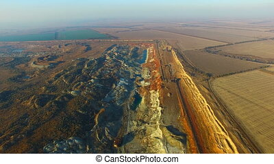 Flying Over The Ore Quarry - Flight Over the Manganese Ore...