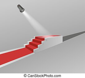 stairs with red carpet and light