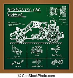 Vector doodle futuristic car scheme on blackboard