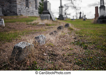 Old Abandoned Irish Cemetery and Church Ruins
