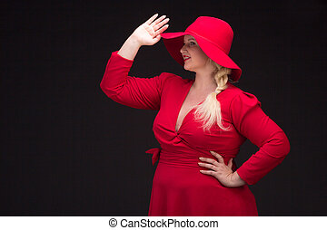 Sexy plus size woman in red hat with red lips - Sexy plus...
