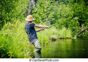 Young Fisherman Catching a big Fish