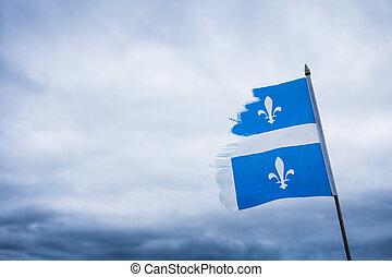 Metaphor using a Broken Quebec Flag and a Sad Sky - Strong...