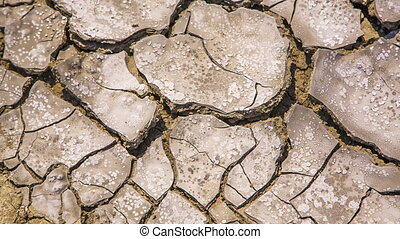 Cracked Barren Soil At Drought - Panning shot above pieces...