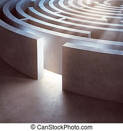 Complicated maze - Image of a complicated circular maze lit