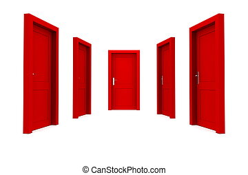 Choose a Red Door - abstract hallway with five red closed...