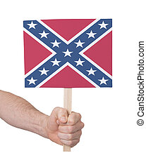 Hand holding small card - Flag of the Confederacy - Hand...