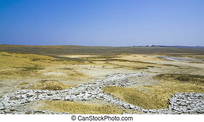 Valley Of Mud Volcanoes Near Kerch, Crimea - PANNING. This...