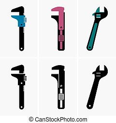 Adjustable wrenches - Set of six adjustable wrenches