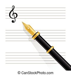 Musical staff, clef and pen - Vector illustration of musical...