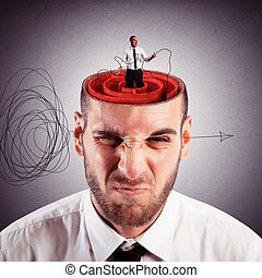 Solution of mind labyrinth - Businessman with the brain as a...