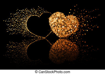 Two golden hearts on black background with reflection effect