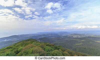 The view from the lookout tower on mount Akhun timelapse,...