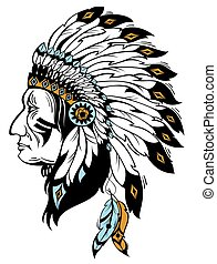Indian chief - Vector illustration with Indian chief