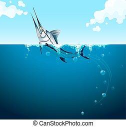 Swordfish swimming in the ocean