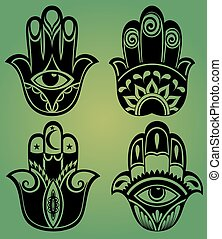 Collection of hamsa hands - Set of hamsa handOrnamental...