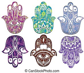 Hamsa vector hand - Collection of ornamental hamsa hands