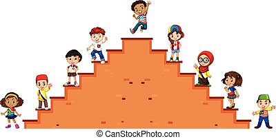 Children standing on the stairs illustration