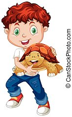 Little boy hugging turtle