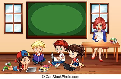 Children doing groupwork in classroom illustration