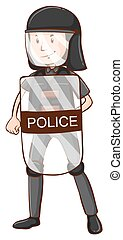 Policeman with helmet and shield illustration
