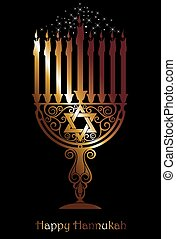 Hannukah logo symbol - Jewish holiday menorah candles