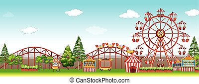 Amusement park at day time illustration