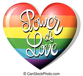 Power of love and rainbow heart illustration