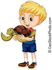 Little boy and a turtle