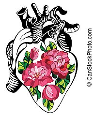 Heart tattoo with roses - Vector Heart for your design
