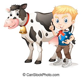 Little boy and a cow