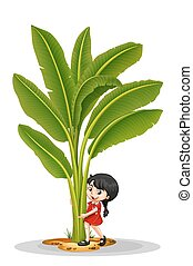 Little girl and banana tree illustration