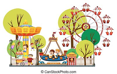 Children playing in the theme park illustration