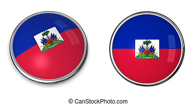 Banner Button Haiti - button style banner in 3D of Haiti