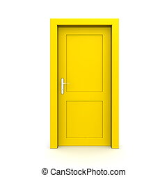 Closed Single Yellow Door - single yellow door closed - door...