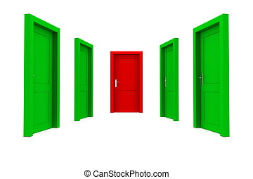 Choose the Right Door - Green and Red