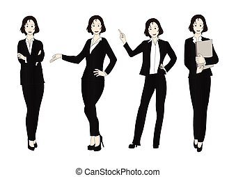 Business Woman Color Full Body Illustration